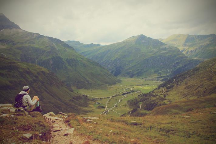 Am Weg zur Hagenerhütte. Blick zurück nach Sportgastein