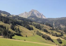 Am Weg zum Ortsteil Unterberg sehen wir den markanten Bernkogel