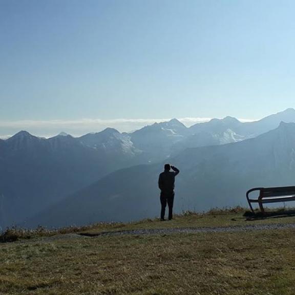 My father and Alps.  #visitaustria #visitbadgastein #stubnerkogel #alps #blue #view #family #familytrip #mydad #paparazzi