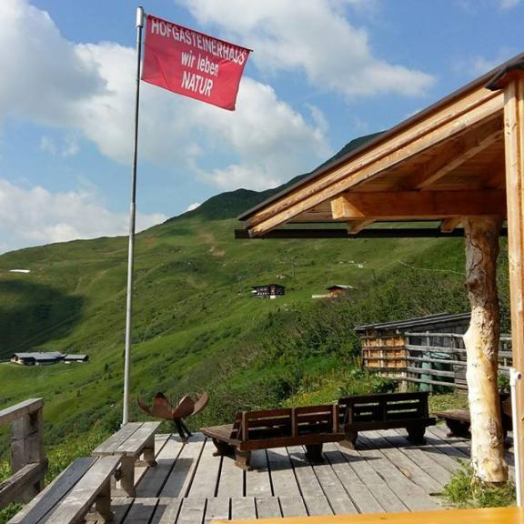The flag is up!  We're open so come visit us for some spectacular views and home cooking. #schlossalm #gasteinertal #gasteinvalley #hofgasteinerhaus