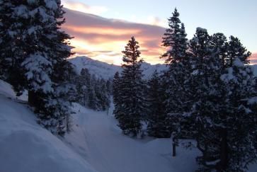 Abendstimmung am Weg zur Graukogelhütte